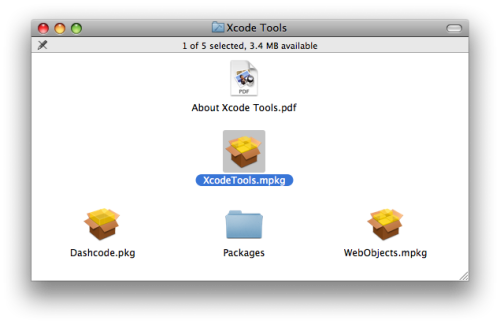 OSX Xcode Tools Screen